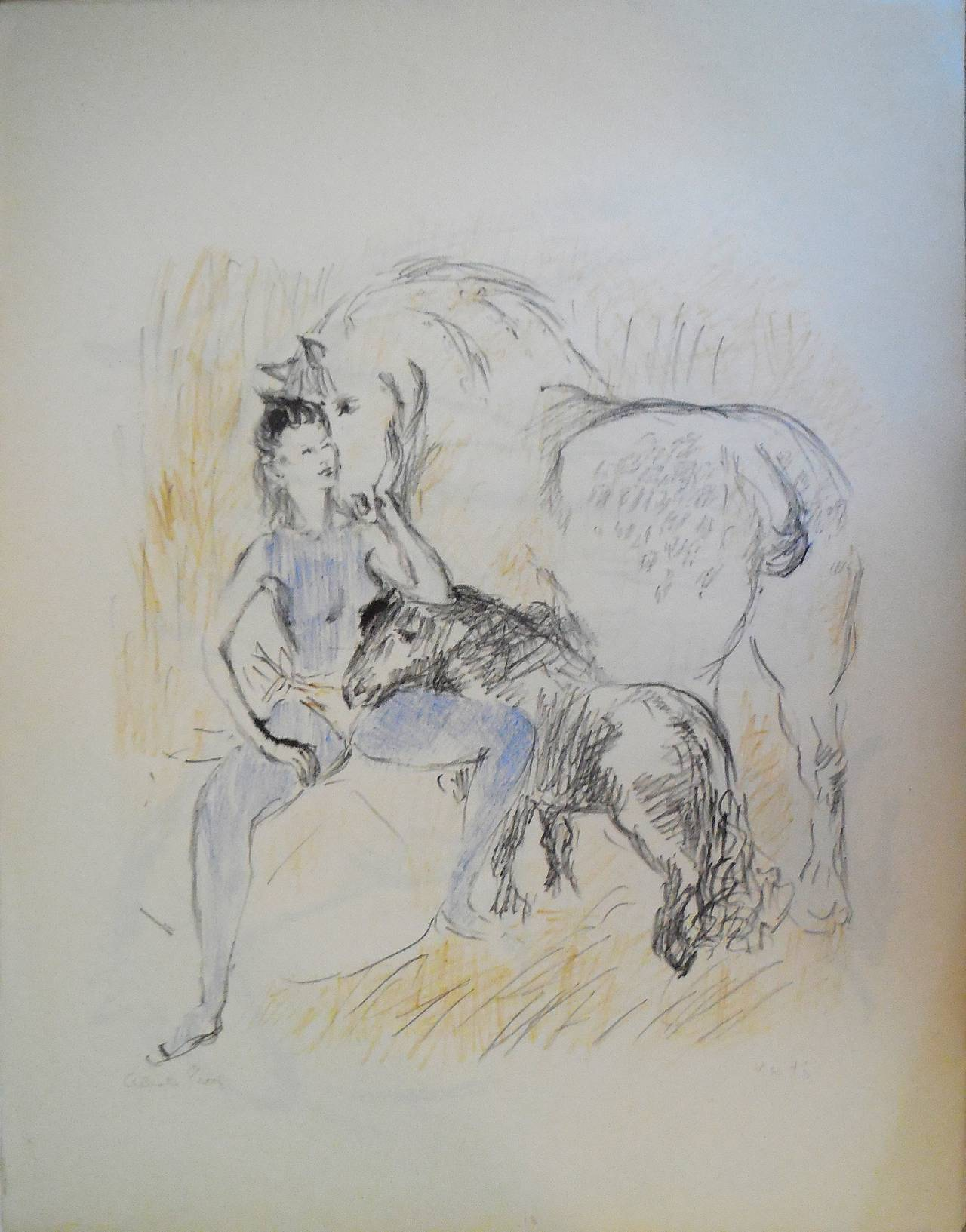 Circus Girl with Horses Lithograph with Hand Coloring