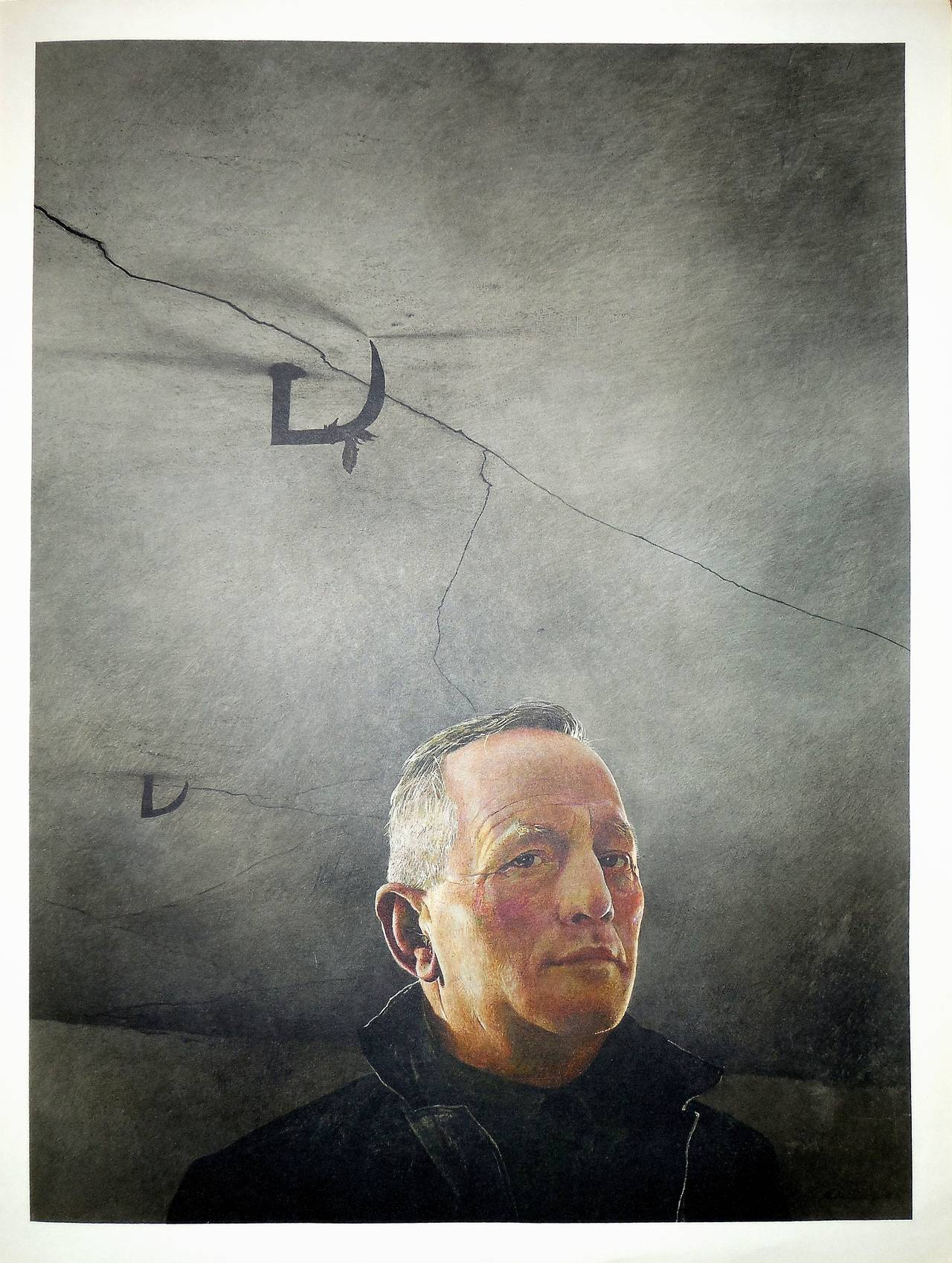 "Andrew Wyeth Figurative Print - Rare ""Karl"" 1956 Collotype"
