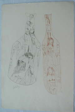 Untitled Surrealist Etching with Bottles and Nudes
