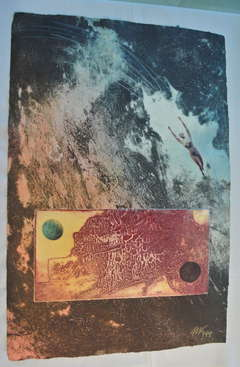 Surrealist Intaglio Mixed Media Monotype on handmade paper
