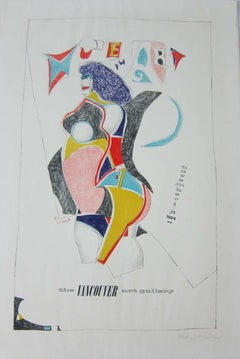 Vintage Modern Lithograph Poster 1960s Pop Art Mod Figure Pencil Signed