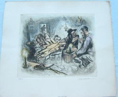 Judaica interior scene etching with hand coloring