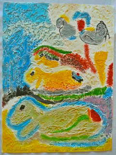 Israeli Modernist Textured Painting on Cast Paper Sheep