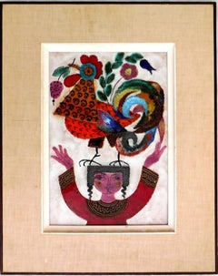 Girl with Rooster, Enamel Glazed Ceramic Plaque