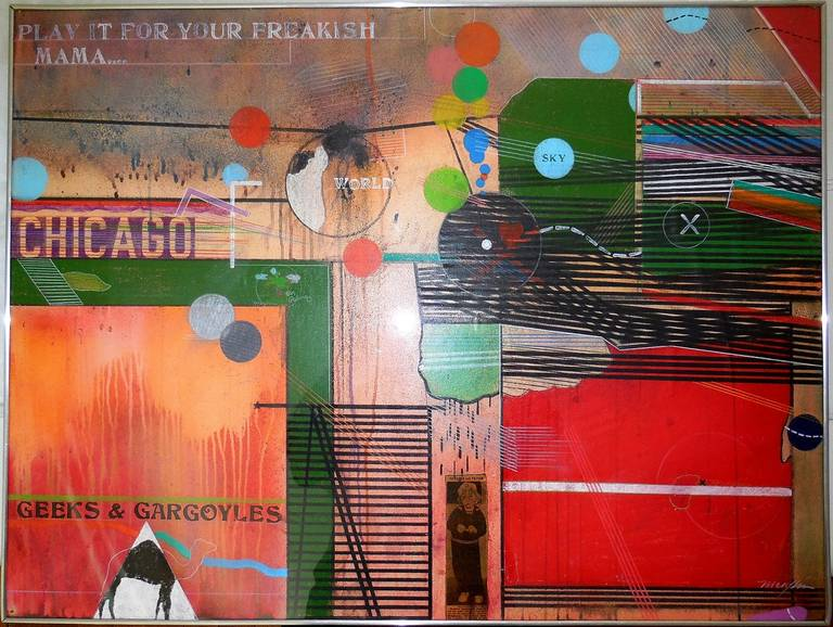 Richard Merkin Abstract Painting - #9 Geeks and Gargoyles (for Nelson Algren)