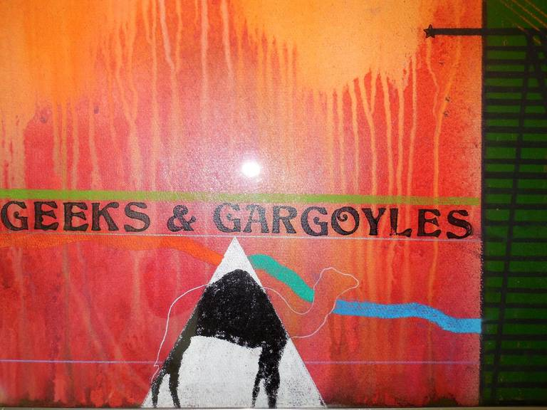 #9 Geeks and Gargoyles (for Nelson Algren) - Brown Abstract Painting by Richard Merkin