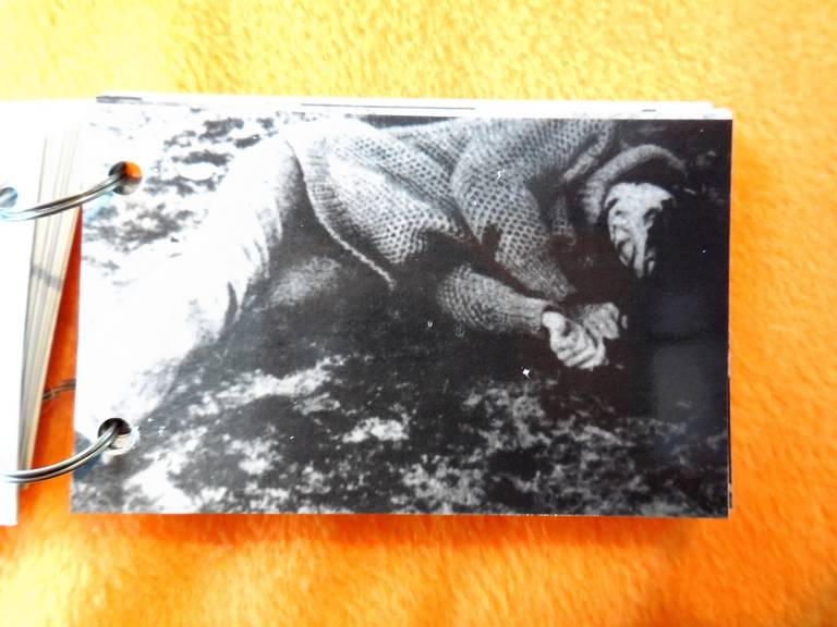 """Christian Boltanski, El Caso, Parkett., Zürich. 1989 in the collection of the MOMA Museum of Modern Art NYC Miniature booklet with 17 photographs, 2 x 3 1/8"""" (5 x 8 x 0,6 cm) ring bound with perspex covers and printed title Ed. 80/XX, signed and"""