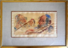 Jewish Klezmer Musicians, Judaica watercolor