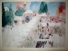Western Wall, Jerusalem Watercolor