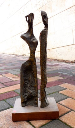 Two Figures (Art Brut Bronze Sculpture)