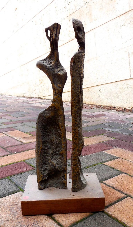 Aharon Bezalel Abstract Sculpture - Two Figures (Art Brut Bronze Sculpture)
