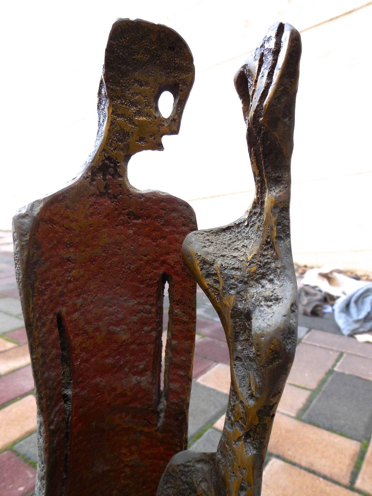 Two Figures (Art Brut Bronze Sculpture) For Sale 1