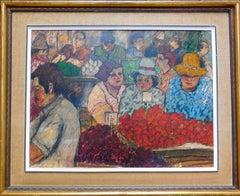 Shopping the Market Israeli Modernist Oil Pastel Painting