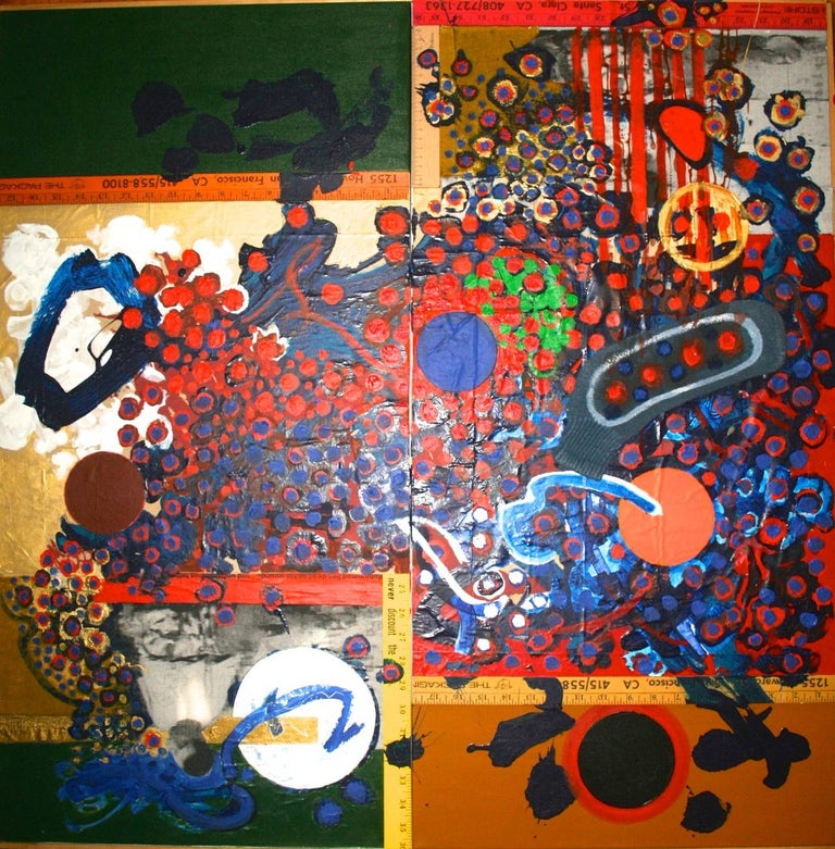 """""""Call To Mohammad"""" Jose Ramon Lerma Mixed Media Assemblage Painting - Orange Abstract Painting by Jose Ramon Lerma"""