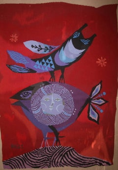 Israeli Bird and Fish Hand Woven Itche Mambush Atelier Aubusson Style Tapestry