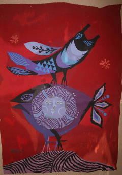 Israeli Bird and Fish Hand Woven Itche Mambush Atelier Aubusson Style Tapestry