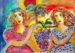 Zamy Steynovitz Beauties Carrying A Bunch of Grapes Original Oil