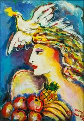 Dove of Peace, Bounty of Fruit Original Oil by Zamy Steynovitz