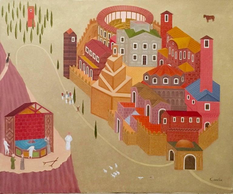 Philip Castle  Figurative Painting - Fantastic Village Scene Modern Irish Magic Realism Oil Painting