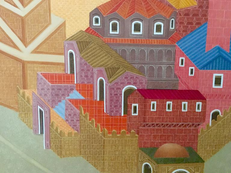 Fantastic Village Scene Modern Irish Magic Realism Oil Painting For Sale 2