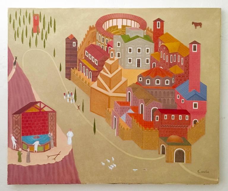 Fantastic Village Scene Modern Irish Magic Realism Oil Painting For Sale 3