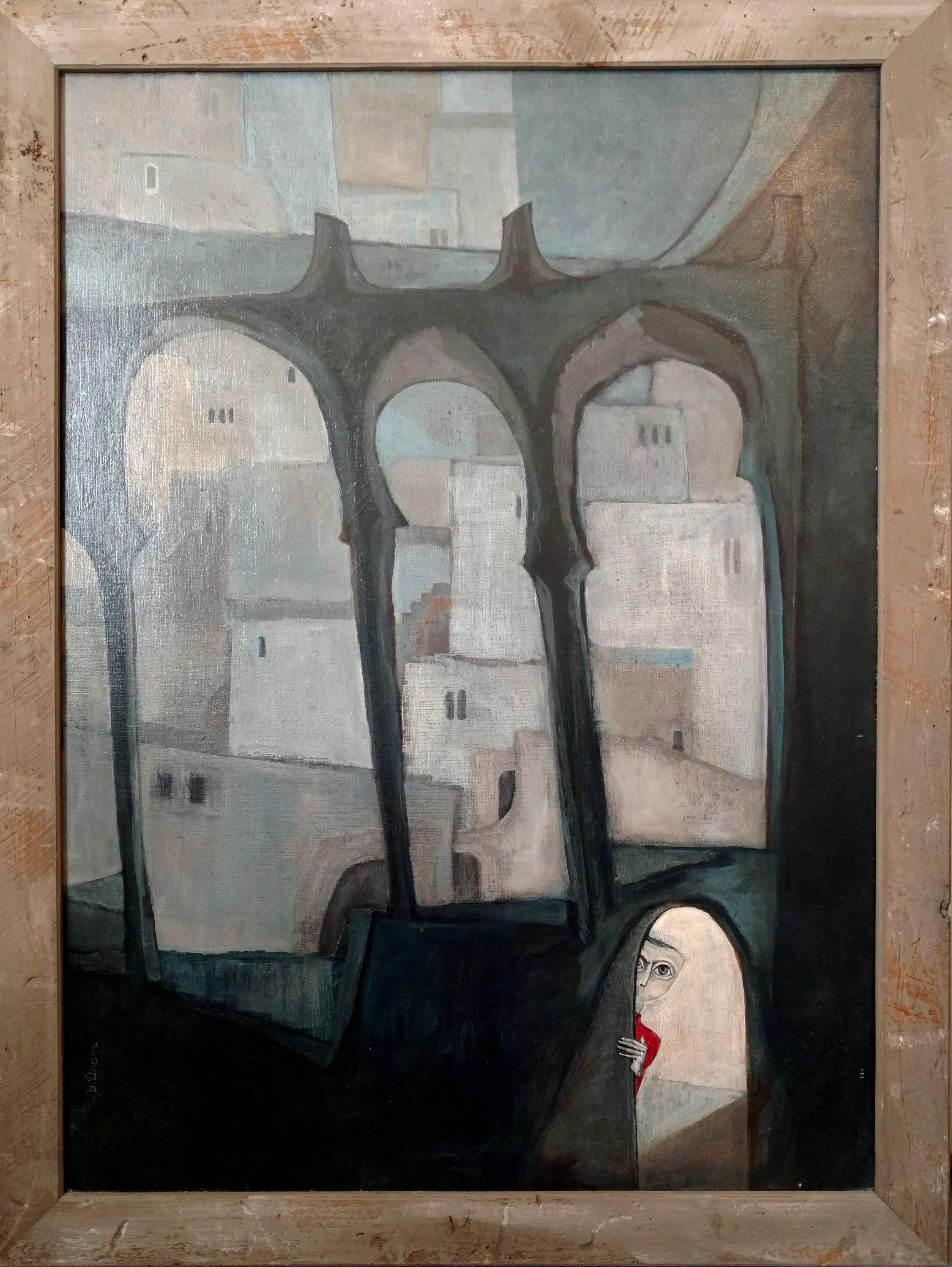 Large Surrealist Symbolist Painting, Peeking Child, Moorish Architectural Arches