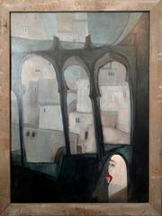 Large Surrealist Symbolist Painting, Peeking Child, Moorish Architectural Arches
