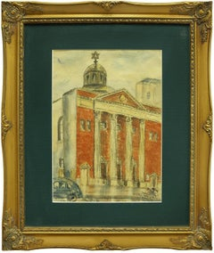 1930's Tremont Temple, Judaica Watercolor, Bronx New York City