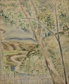 Untitled Palestine Landscape, Vintage Bezalel Schoo Israeli Watercolor Painting