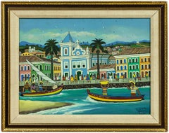Salvador Bahia, Latin American Naive Art Oil Painting