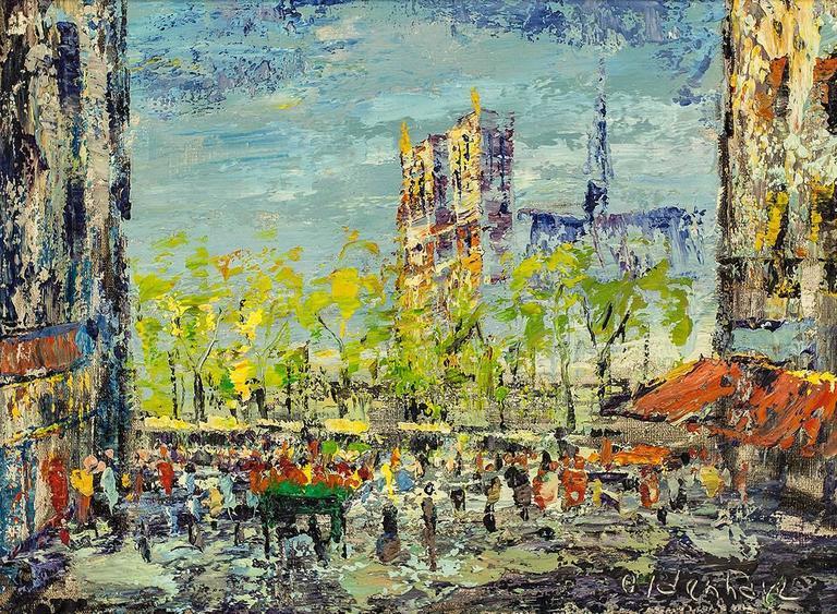 Impressionist Cityscape, Oil Painting Dutch Artist, Paris Landscape Scene - Brown Landscape Painting by Arnoldus Oldenhave