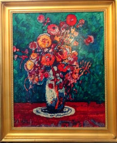 Vibrant Floral Still Life Painting in the Modernist Style