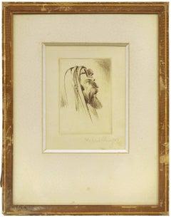 Untitled, Rabbi with Tefillin, Judaica