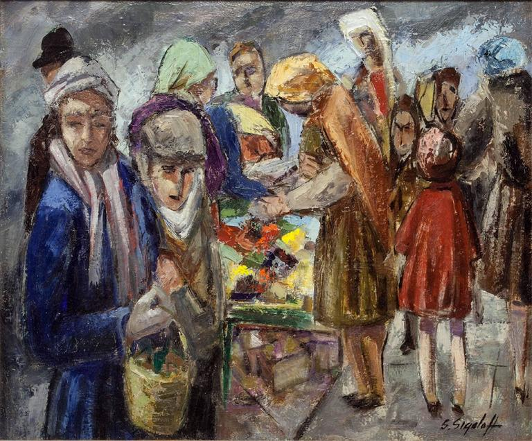 Jewish Peddlers on Market Day - Painting by Samuel Sigaloff