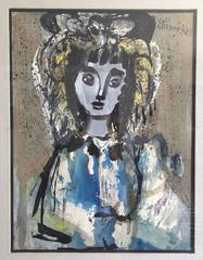 """""""La Belle Fille"""" Large Mid Century French Painting Portrait of a Beautiful Girl"""