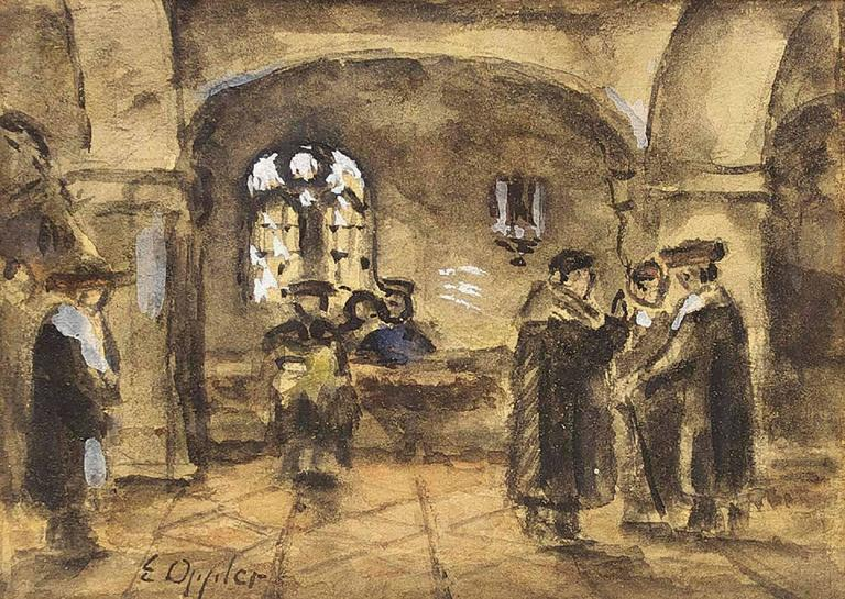 Interior of a Synagogue, Judaida Drawing, Watercolor, Gouache - Art by Ernst Oppler