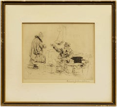 Market Day, Old World Etching