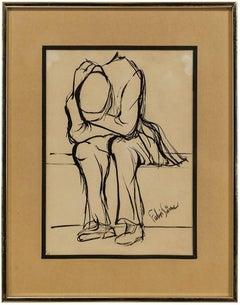 Turkish Modernist Expressionist Gestural Figure Study Drawing