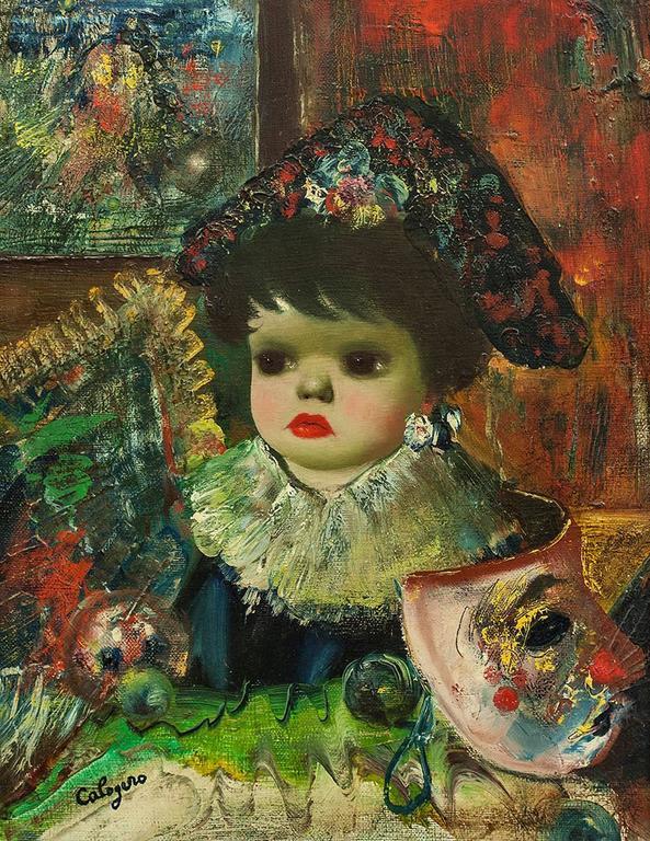 L'Enfant, Colorful Surrealist Child with Venice Carnevale Masque - Painting by Jean Calogero