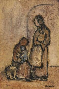 Family of Three, Mid Century Gouache on Paper