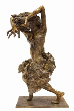 Untitled (Metamorphosis) Brutalist Surrealist Bronze Sculpture Woman Dancing