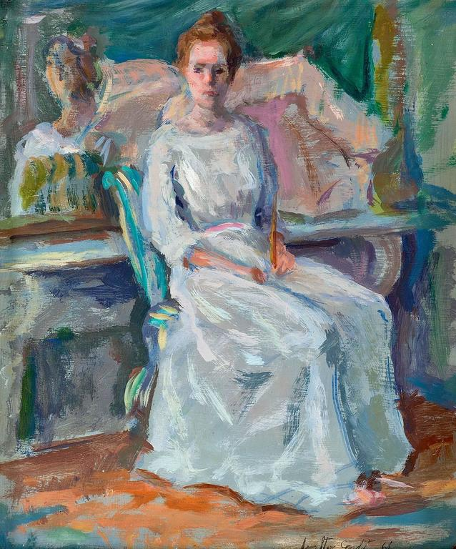 Woman Sitting For Her Portrait, Impressionist Painting - Brown Figurative Painting by Walter D. Condit
