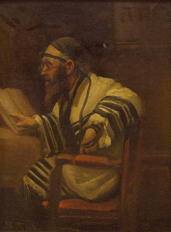 S Sieberger Rabbi In Prayer Early 20th Century Oil