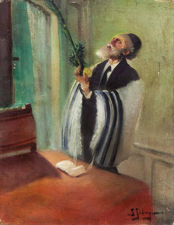 Lulav and Etrog Benediction, Judaica Oil Painting, Early 20th Century - Brown Figurative Painting by Samuel Seeberger