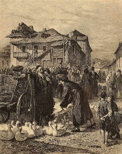 Goose-Market in Cracow, Vintage Print, 1869