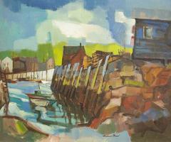 Modernist Landscape with Fishing Boat
