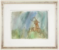 Rare Leonard Baskin Watercolor Seasons Song: Deer Illus. Ted Hughes Poem