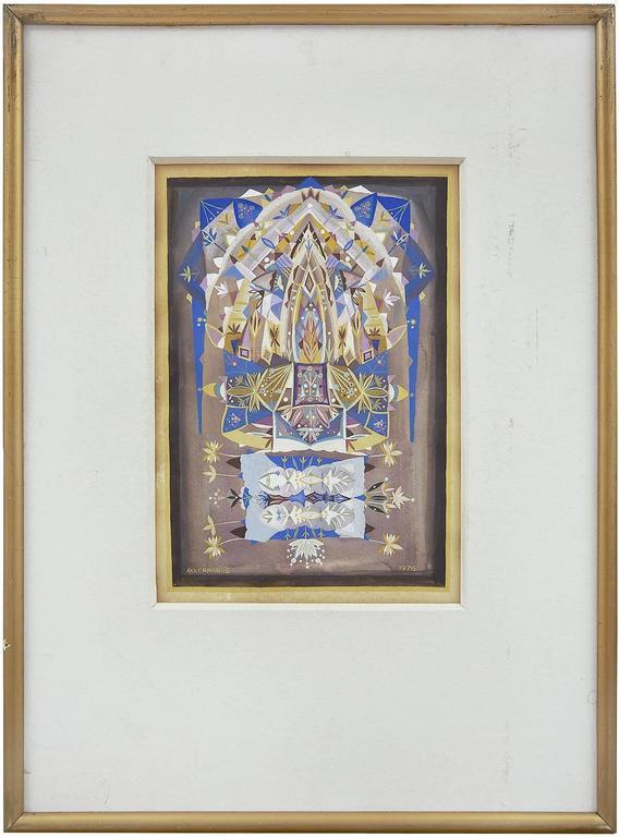 Mandala Judaica Post Soviet Russian Avant Garde Israeli Leviathan Group Painting - Gray Abstract Painting by Shmuel Ackerman