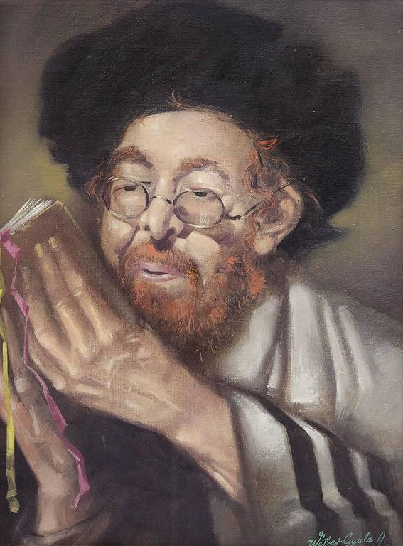 Hungarian Judaica, Hassidic Rabbi painting - Painting by Weber Gyula
