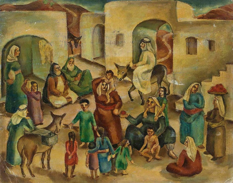 Jewish Village Palestine/Israel C.1930s Modernist Painting - Brown Figurative Painting by Ida Shelesnyak Mirrof
